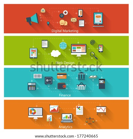 Set of modern concepts in flat design with long shadows and trendy colors for web, mobile applications, digital marketing, finance, social networks, analytics etc. Vector eps10 illustration