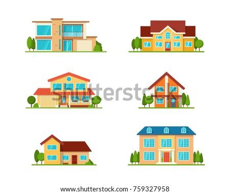 set of modern cottage house