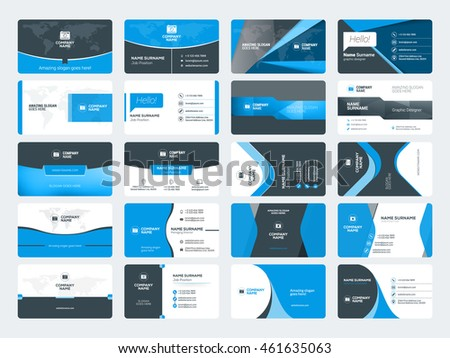 Website business card template download free vector art stock set of modern creative business card templates blue and black colors flat style vector flashek Image collections