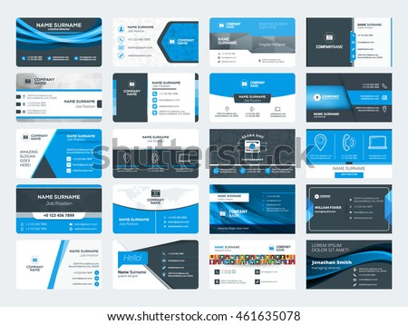 Set of modern creative business card templates. Blue and black colors. Flat style vector illustration. Stationery design