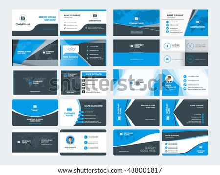 Elegant blue wave business card design template download free set of modern creative business card templates blue and black colors flat style vector cheaphphosting Gallery