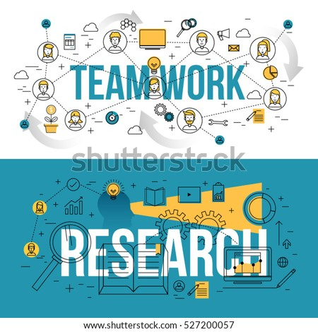 Set of modern design concepts of team work and research. Thin line and flat design banners for website and mobile apps, printed materials easy to scale.