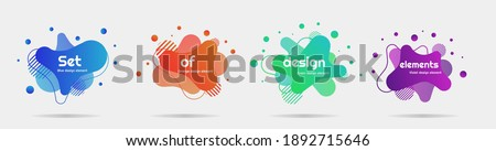Set of 4 modern design elements, liquid shapes and waves, colorful illustrations for posters, banner, magazines etc. 3D trendy signs, Template for the design of a logo. EPS 10 vector
