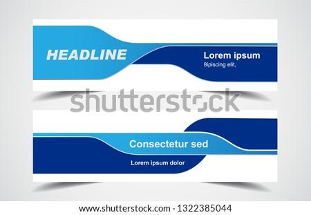 Set of modern design - Vector web banners design background or header templates, blue color, horizontal advertising business banner. ストックフォト ©