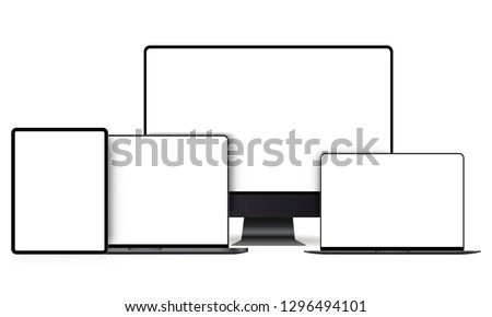 Set of modern devices mockups with blank frameless screens: monitor, laptop, tablet computer. Vector illustration