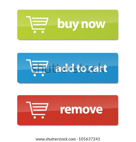Set of modern e-commerce buttons and icons.