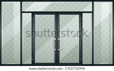 Set of modern entrance doors black. With tinted transparent glass. Vector graphics