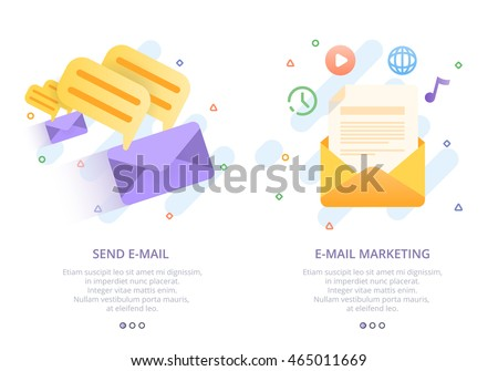 Set of modern flat design concept for e-mail marketing, send e-mail. News letter advertising icon. Flat colorful style Onboard, business concept web vector illustration.