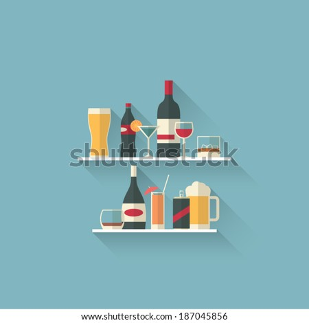 set of modern flat design drink