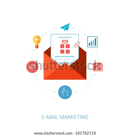 Set of modern flat design icons for e-mail marketing and news letter advertising. Marketing message with idea, at, address, wallet, analytic, point, click and tap concepts vector illustration.