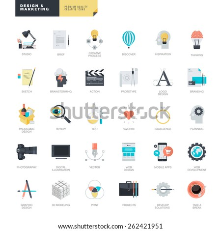 set of modern flat design icons