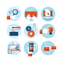 Set of modern flat design icons on the topic of web design development, web page programming, website SEO optimization, smartphone app development, web analytic, online banking and shopping app.