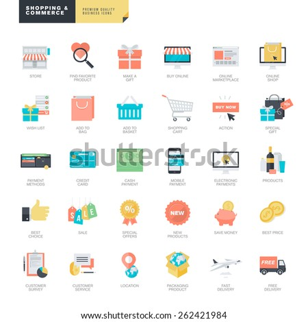Set of modern flat design online shopping and e-commerce icons for graphic and web designers