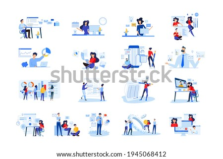 Set of modern flat design people icons of business analytics and planning, video and conference call, business app, seo, market research, online support, accounting, data analysis, teamwork.