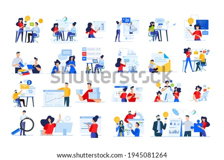 Set of modern flat design people icons of distance education, webdevelopment, cloud computing, project development, task management, online marketing, technology, support, startup, business analysis.
