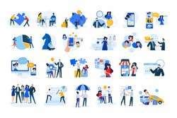Set of modern flat design people icons of finance and banking, business strategy and planning, ecommerce and delivery, vodeo calling, online meeting, teamwork, digital mamarketing, consulting, startup
