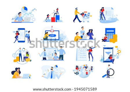 Set of modern flat design people icons. Vector illustration concepts of startup, time management, social network, e-commerce, data analytics, market research, business presentation, finance, marketing