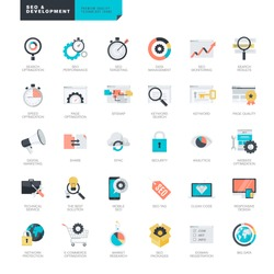 Set of modern flat design SEO and website development icons for graphic and web designers