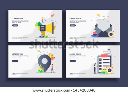 Set of modern flat design templates for Business, advertising, email marketing, pin location, data check. Easy to edit and customize. Modern Vector illustration concepts for business
