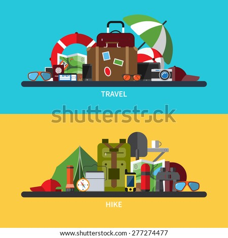 Set of modern flat design vector illustrations of tourism, traveling, camping, hiking. Vacation and holidays. Passenger luggage and travel items. Hiking equipment