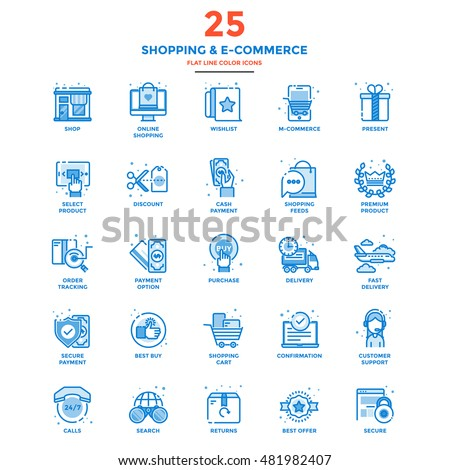 Set of Modern Flat Line icon Concept of shopping, e-commerce, m-commerce, delivery,  use in Web Project and Applications. Vector Illustration