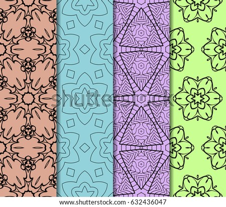 set of modern floral pattern of geometric ornament. Seamless vector illustration. for interior design, printing, wallpaper, decor, fabric, invitation. #632436047