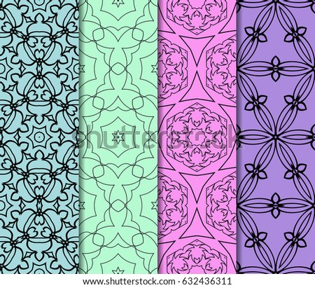 set of modern floral pattern of geometric ornament. Seamless vector illustration. for interior design, printing, wallpaper, decor, fabric, invitation. #632436311