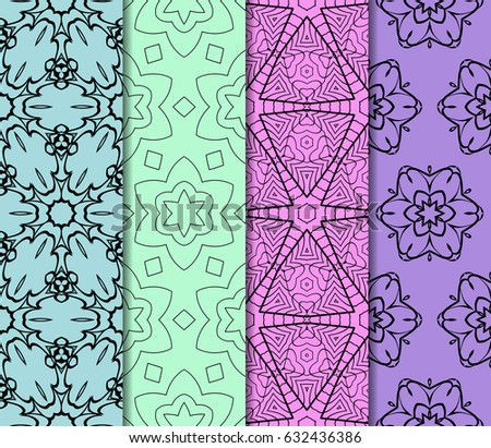 set of modern floral pattern of geometric ornament. Seamless vector illustration. for interior design, printing, wallpaper, decor, fabric, invitation. #632436386