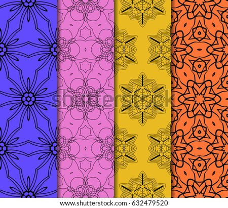 set of modern floral pattern of geometric ornament. Seamless vector illustration. for interior design, printing, wallpaper, decor, fabric, invitation. #632479520