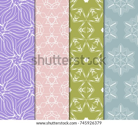 set of modern floral pattern of geometric ornament. Seamless vector illustration. for interior design, printing, wallpaper. #745926379