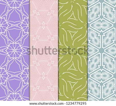 Set Of Modern Floral Seamless Pattern. Decorative Texture For Wallpaper, Invitation, Fabric. Vector Illustration. Color #1234779295