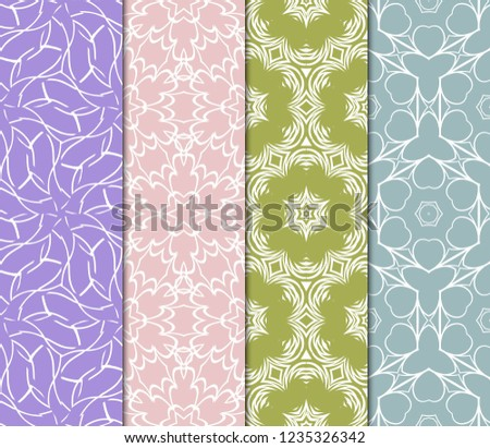 Set Of Modern Floral Seamless Pattern. Decorative Texture For Wallpaper, Invitation, Fabric. Vector Illustration. Color #1235326342