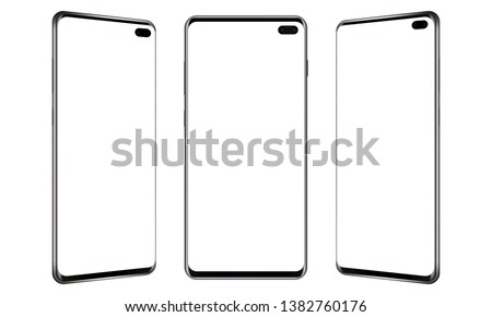 Set of modern frameless mobile phones mockups with blank screens. Vector illustration