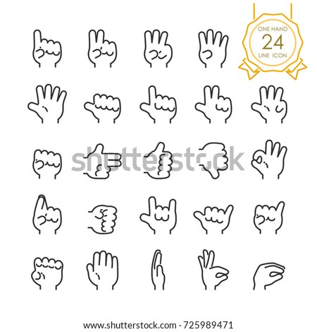 Set of modern gesture one hand line icon for website, infographic or business, simple symbol. Vector illustration (Editable Stroke)