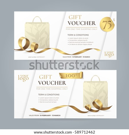 Set of modern gift vouchers with shiny golden ribbons and paper shopping bags with floral patterns. Vector template for gift card, coupon and certificate. Isolated from the background.