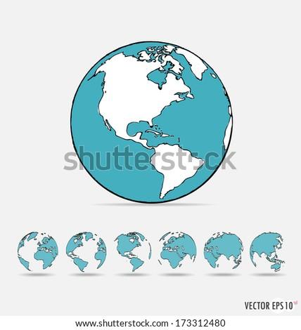 set of modern globe drawing
