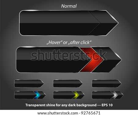 Set of modern glossy navigation buttons. Place for text or icons. Two positions - normal and
