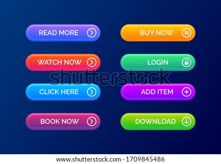 Set of modern gradient buttons in dark background for website and ui design. Collection gradient buttons vector icon