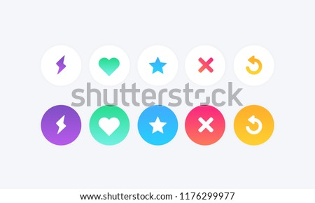 Set of Modern gradient color icons heart  like , super like . skip . boosts swipe match chat dating app