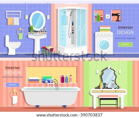 set of modern graphic bathroom