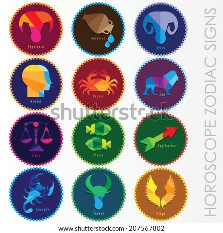 set of modern horoscope zodiac signs