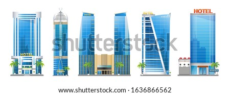 Set of modern hotel buildings, skyscraper towers with palm trees, architecture constructions, urban landscape of Doha Qatar, vector illustration isolated on white background