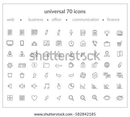 Set of modern icons: web icons, business, office, communication, finance applications. Thin line. Black