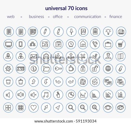 Set of modern icons: web icons, business, office, communication, finance applications. Thin line. Navy blue.
