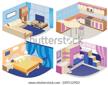 set of modern interiors  vector