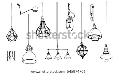 Shutterstock Set of modern isolated edison loft  lamps, vintage, retro style light bulbs. Hand drawn vector collection.