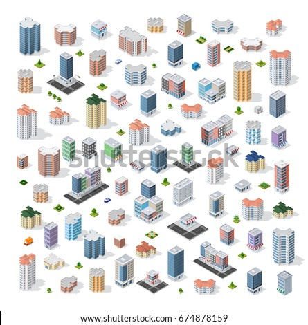 Set of modern isometric buildings and houses for sites and games. Dimensional views of skyscrapers  and urban areas with transport