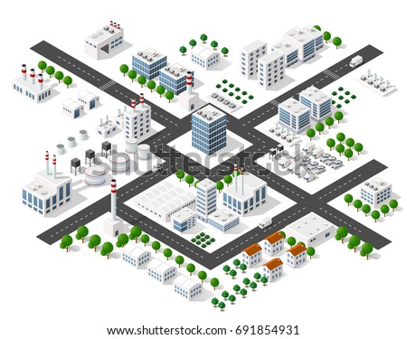 Set of modern isometric buildings and plants for sites and games Сток-фото ©