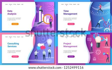 Set of modern landing page template for data analysis, time management, consulting services, project management. Vector illustration mock-up for website and mobile website