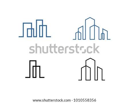 Set of modern line art City logo template